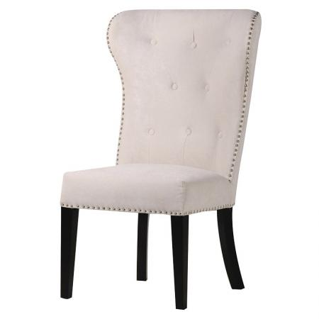 Cream Dining Chair With Silver Lion Knocker