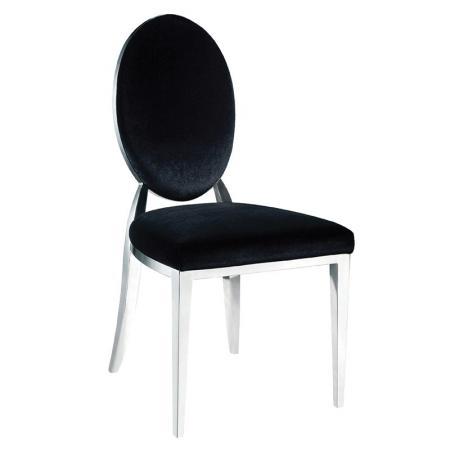 Black Velvet & Chrome Oval Dining Chair