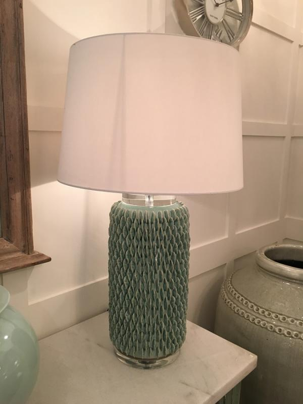 Green ceramic table lamp with white shade mulberry moon green ceramic table lamp with white shade mozeypictures Choice Image