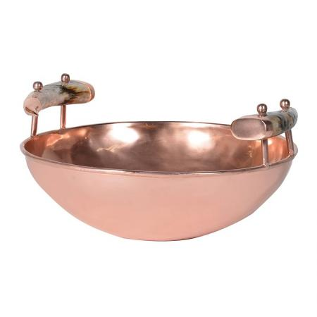 Large Copper Bowl With Bone Handles