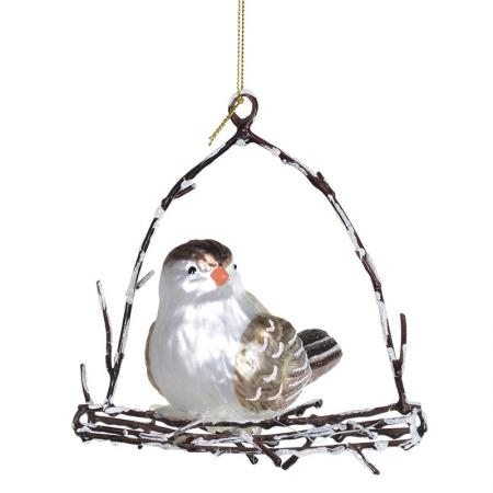2 x Lg Christmas Bird On Hanger/ Decoration