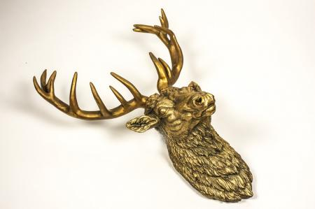 Huge Gold Antique Stag Head Deer Wall Hanging Sculpture