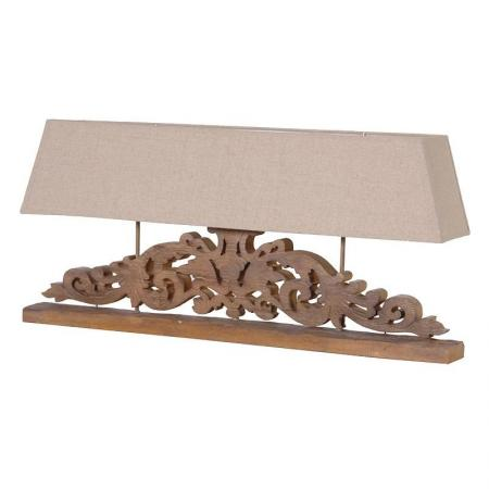 Extra Long  Wooden Carved Lamp & Shade
