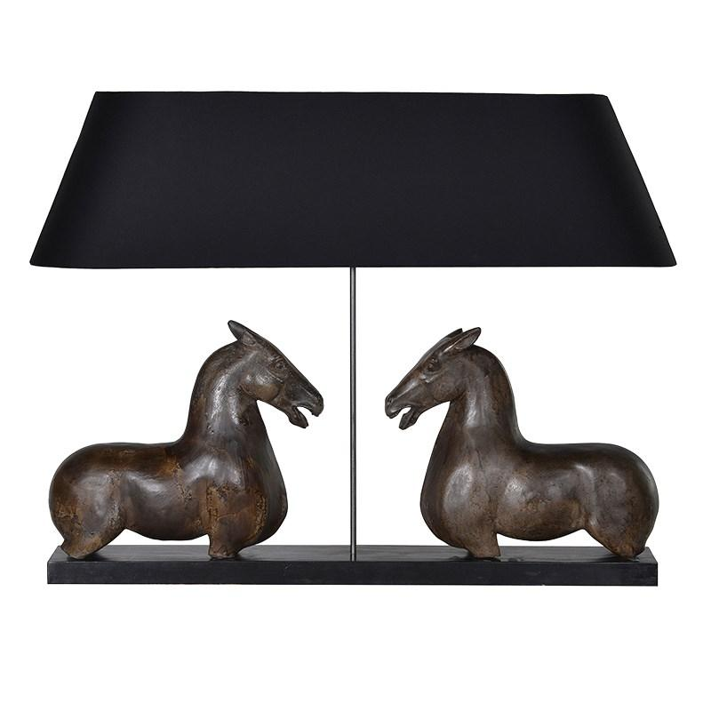 Large pair of horses table lamp black shade mulberry moon large pair of horses table lamp black shade 32495 large pair of horses table lamp aloadofball Image collections