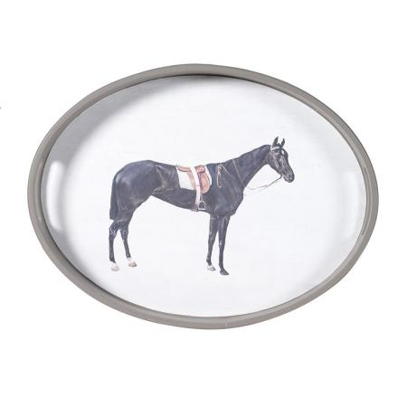 Racehorse Wooden Oval Tea Tray