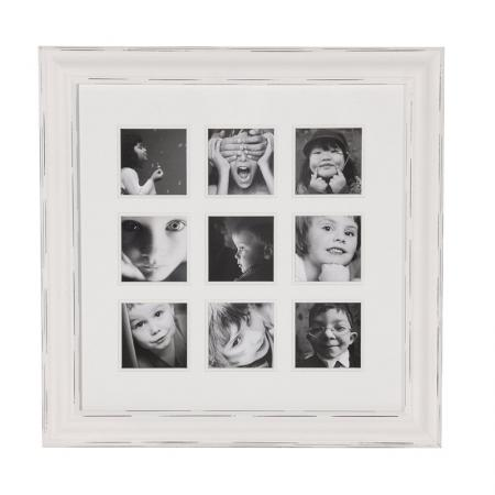 Square White Distressed 9 Picture Photoframe