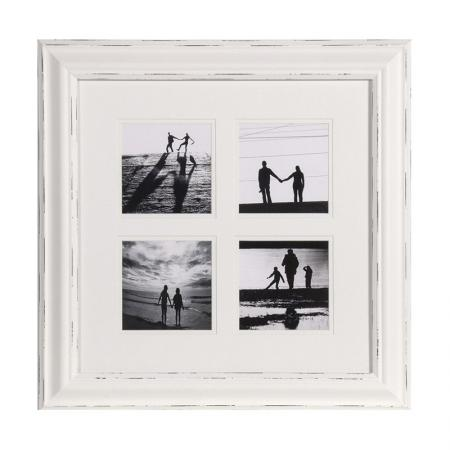 Square White Distressed 4 Picture Photoframe