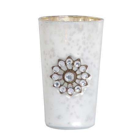 2 x Large Frosted Glass Jewel Candle Holders
