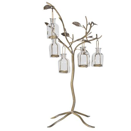 Large Metal Gold Bottle Tree Candle Holder