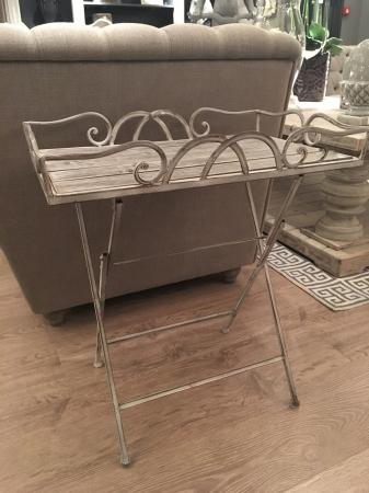Ornate Folding Grey Metal Tray Table