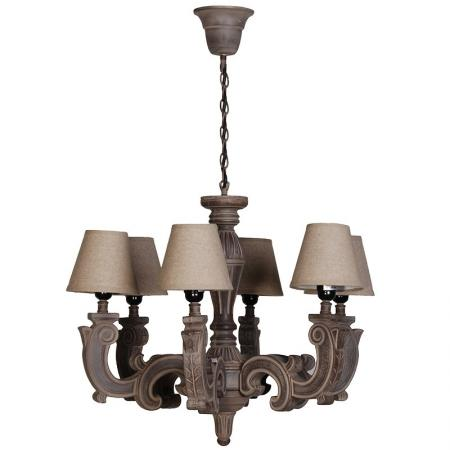Brown Carved 6 Arm Chandelier