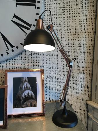 Black & Copper Angle Table Lamp