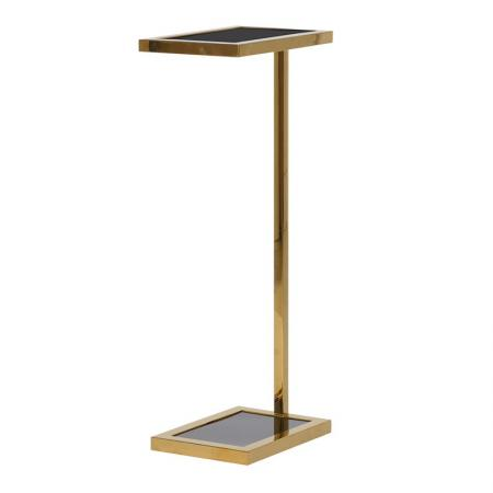 Contemporary Gold Metal & Glass Side Table