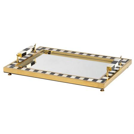 Contemporary Black, White & Gold Tea Tray
