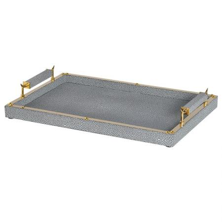 Grey Leather & Gold Tea Tray