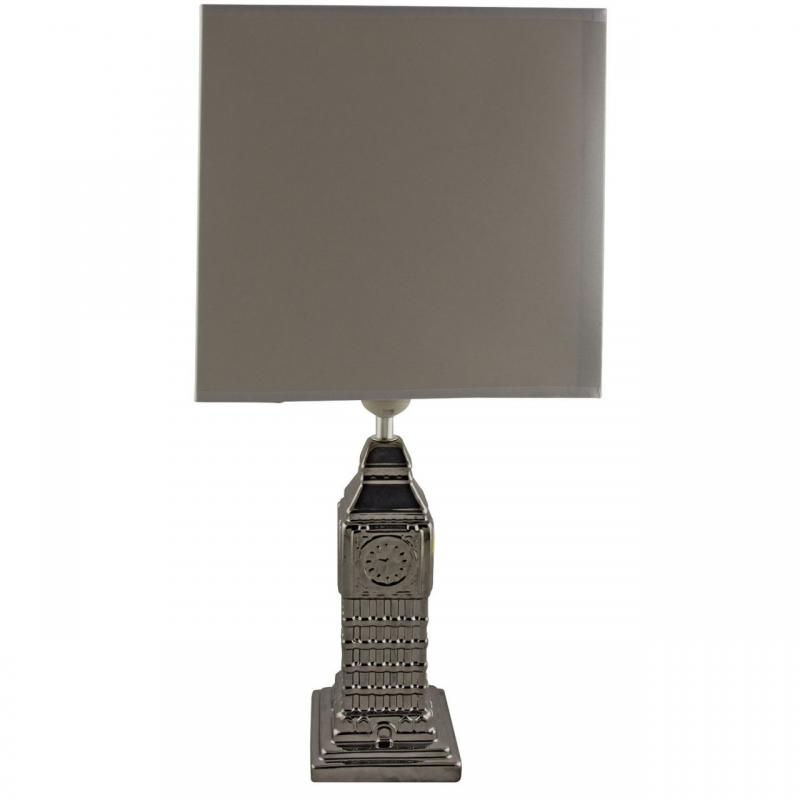 Silver Big Ben Ceramic Table Lamp | Mulberry Moon