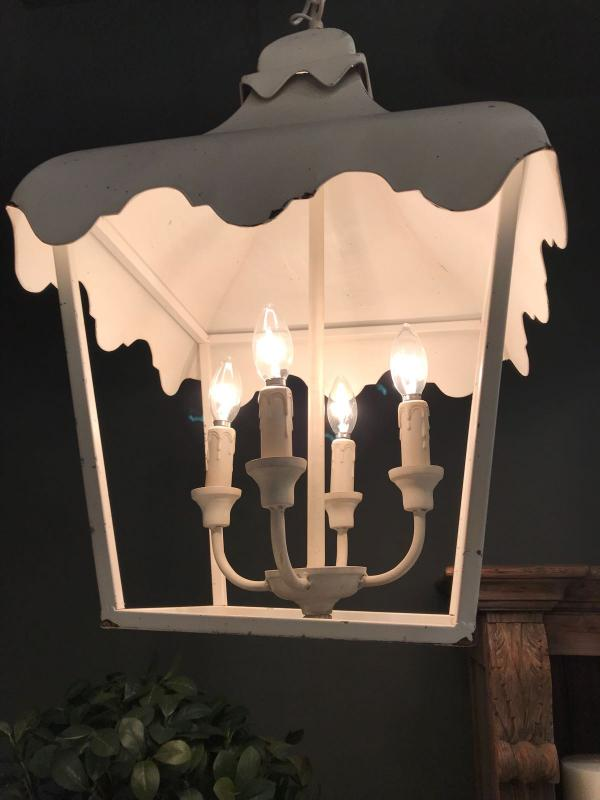 Distressed white metal lantern chandelier mulberry moon distressed white metal lantern chandelier availability in stock mozeypictures Image collections