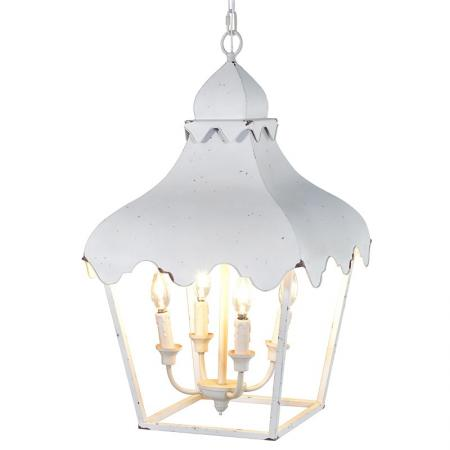 Distressed White Metal Lantern Chandelier