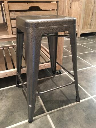 4 x Grey Hammered Metal Stools