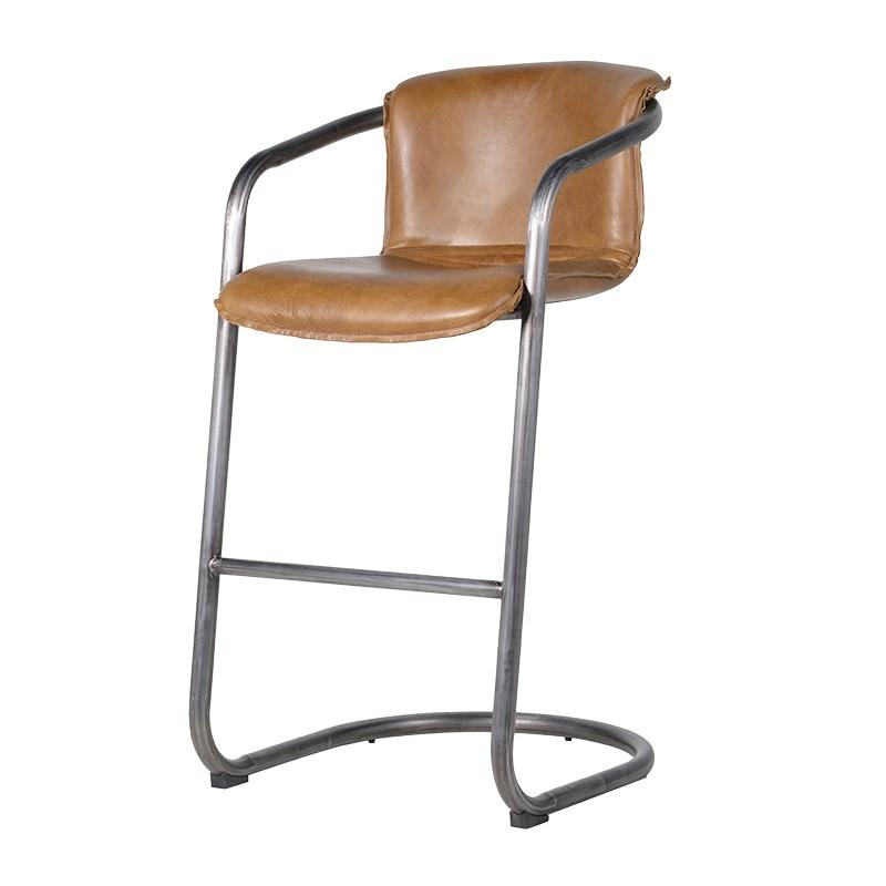 Mid Brown Leather Chair High Bar Stool Mulberry Moon - High bar chairs