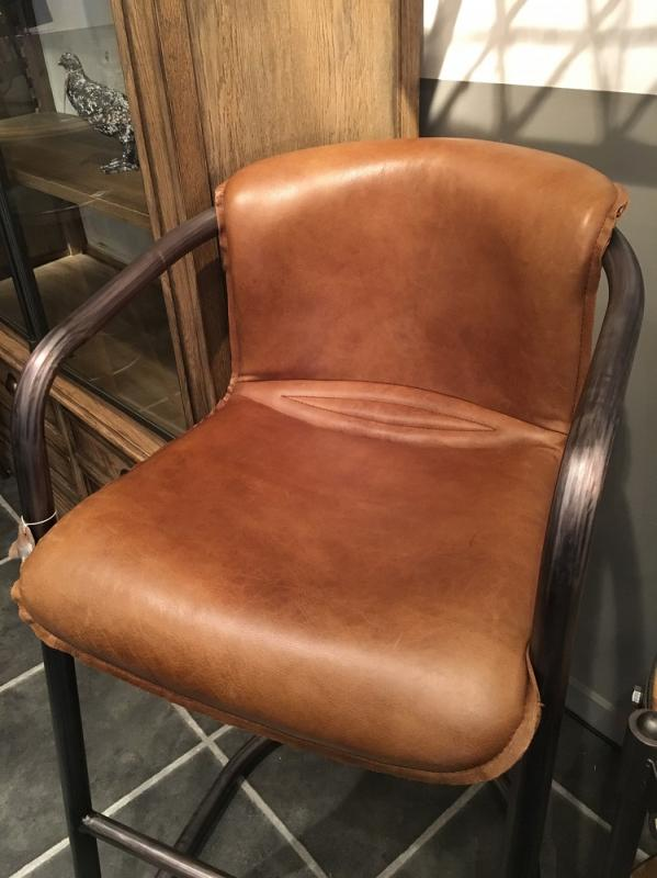 Awesome Mid Brown Italian Leather High Bar Chair. Availability: In Stock