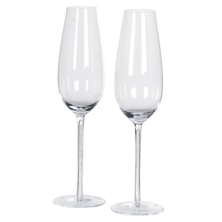 Boxed Set of 2 Clear/ Crystal Champagne Flutes