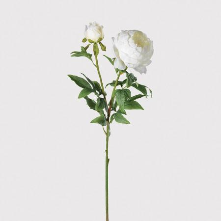 6 Artificial White Peony Bloom Stems