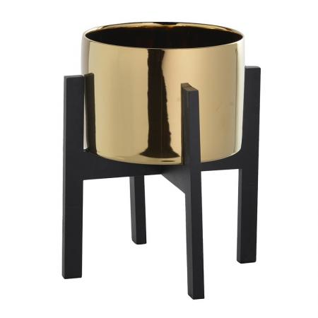 Medium Ceramic Gold & Wood Table Planter