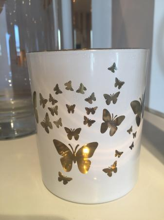 4 White & Gold Butterfly Votive Candle Holders