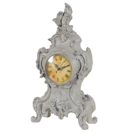 Grey Shabby Chic Ornate Mantel Clock