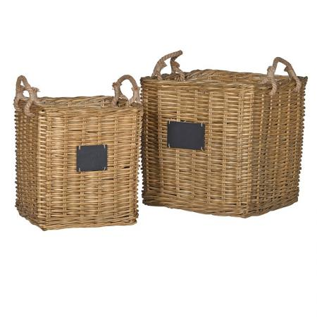 Set of 2 Square Willow Storage Baskets