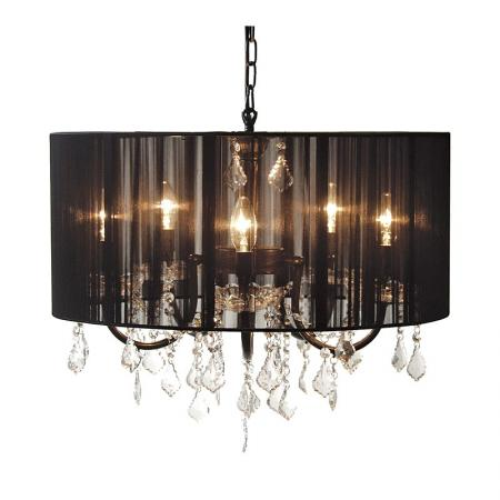 Black Shade Crystal Glass Chandelier / Light Fitting