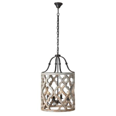 Ornate Wooden Birdcage Style Ceiling Light
