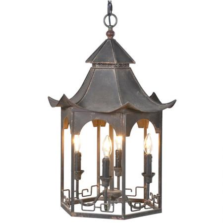 Large Distressed Black Metal Chandelier / Light