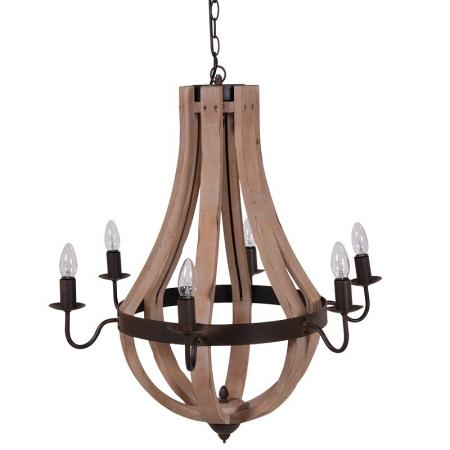 Large Wooden Cage Chandelier / Light