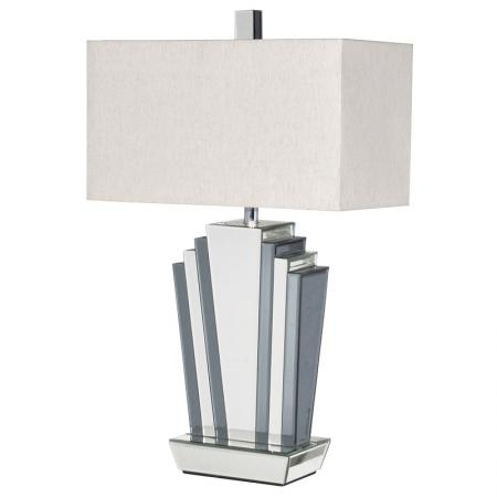 Art Deco Style Mirrored Glass Table Lamp & Shade