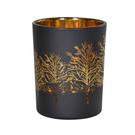 2 x Black & Gold Trees T-Light Holders