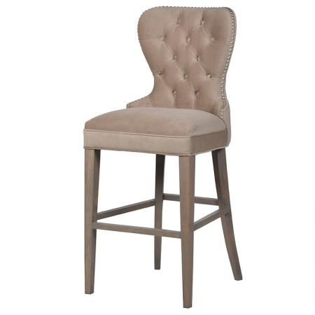 Beige & Silver Studded Bar Stool / Chair