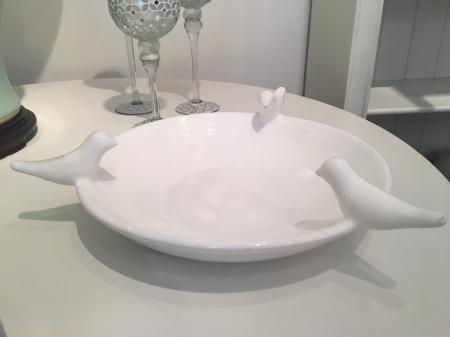 Large White Ceramic Serving Bowl With Birds