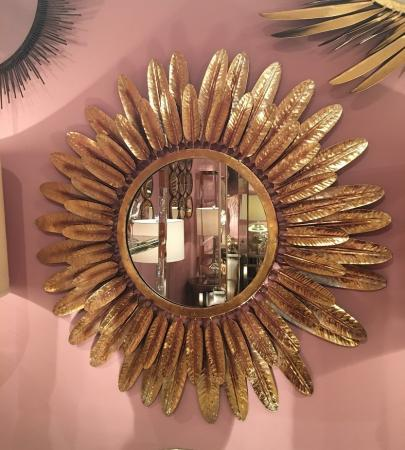 Large Antiqued Gold Round Feather Mirror