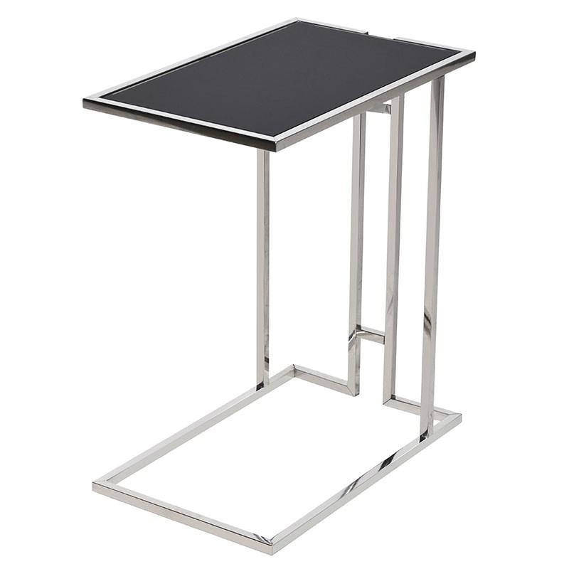 Chrome Mirrored Amp Black Glass Side Table Mulberry Moon