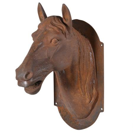 Large Iron Horse Head Mounted Wall Sculpture