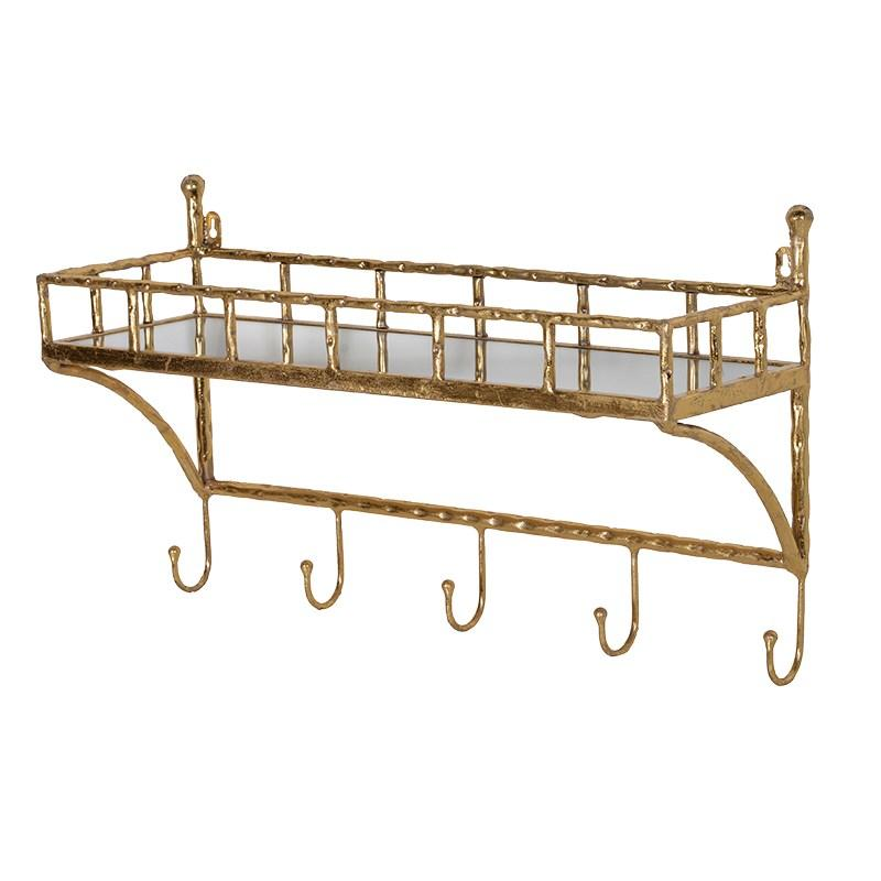 gold bamboo wall shelf with coat hooks mulberry moon. Black Bedroom Furniture Sets. Home Design Ideas