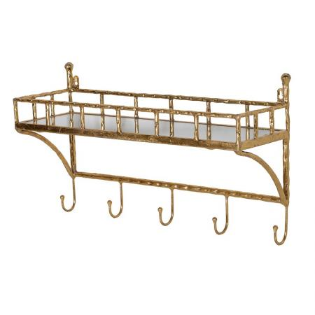 Gold Bamboo Wall Shelf With Coat Hooks