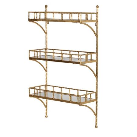 Gold Bamboo 3 Shelf Unit With Coat Hooks