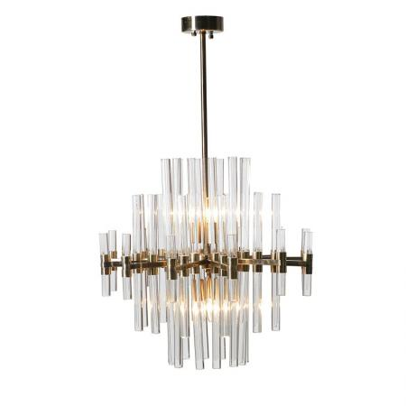 Large Gold & Glass Rods Chandelier Light