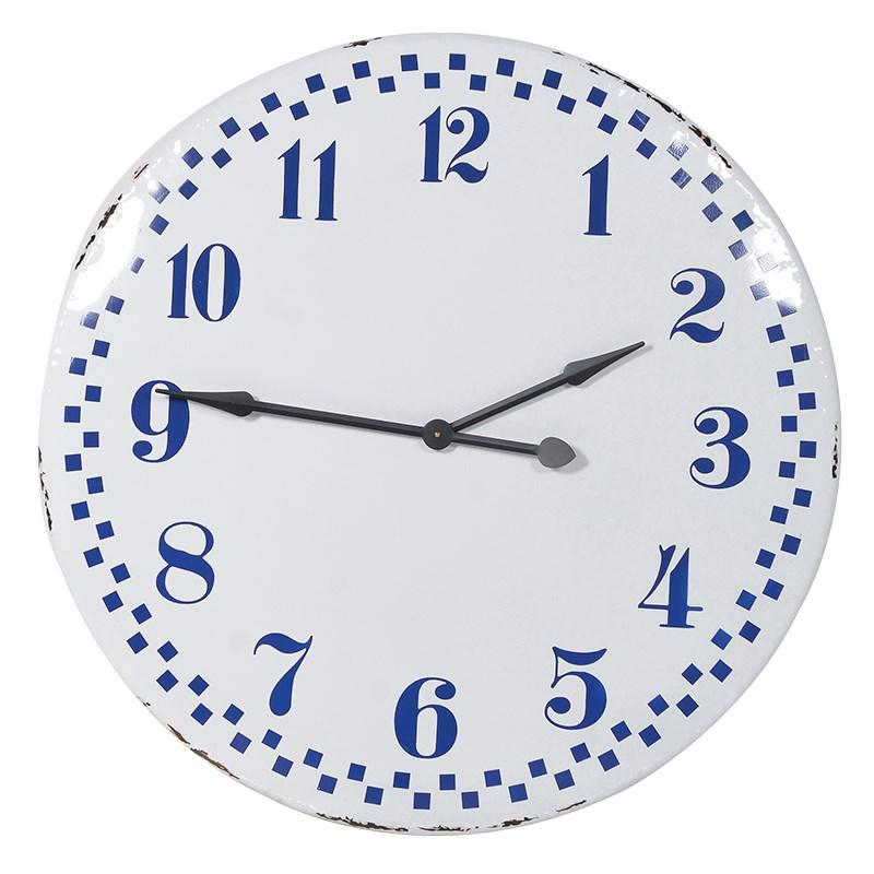 Large Blue White Retro Wall Clock Mulberry Moon