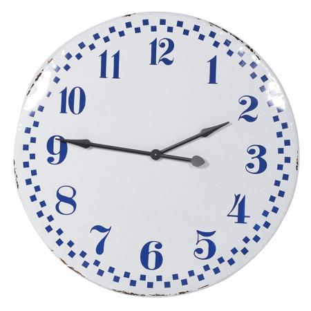 Large Blue & White Retro Wall Clock