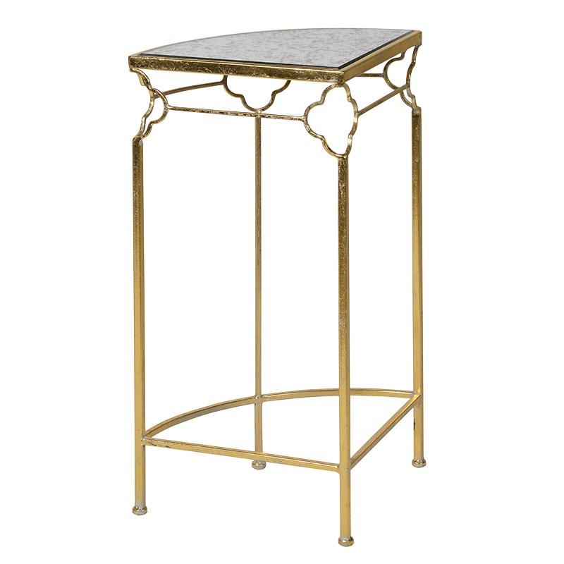 Gold Corner Plant Stand With Glass Top