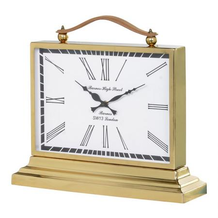 Gold Aluminium Mantel Clock With Leather Strap